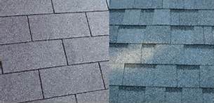 Three tab shingles (left) and architectural shingles (right)